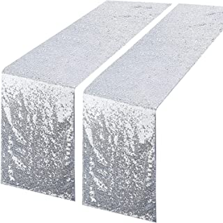 2 Packs Silver Sequin Glitter Table Runners, Fabric 12''x 108'' Tablecloth for Baby Bridal Shower Graduation Celebration B...