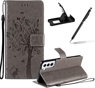 Strap Leather Case for Samsung Galaxy S21 Plus 5G,Grey Silicone Flip Case for Samsung Galaxy S21 Plus 5G,Herzzer Premium E...