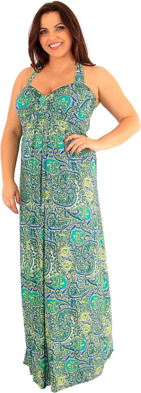 Chocolate Pickle New Womens Tropical Paisley Border Print Maxi Dress