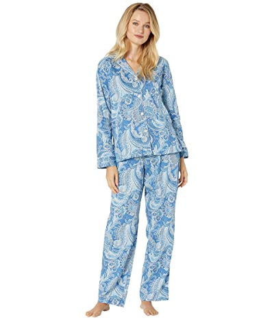 LAUREN Ralph Lauren Sateen Long Sleeve Pointed Collar Long Pants Pajama Set (Paisley) Women