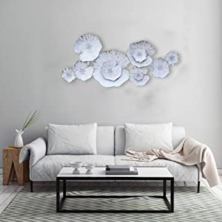 Craftter Lotous Leafs White Color Metal Wall Art Sculpture Home Décor Wal Hanging