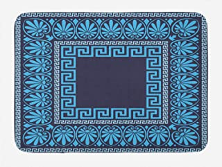 Ambesonne Greek Key Bath Mat, Grecian Meandros Pattern with Intricate Lines Floral in Blue Shades, Plush Bathroom Decor Mat with Non Slip Backing, 29.5