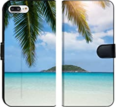 Liili Premium Phone Case Designed for iPhone 8 Plus and iPhone 7 Plus Flip Fabric Wallet Case Image ID: 27368181 Thailand Ocean and Beach Landscape with Coconut and Island