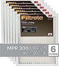 Filtrete 16x20x1, AC Furnace Air Filter, MPR 300, Clean Living Basic Dust, 6-Pack (exact dimensions 15.69 x 19.69 x 0.81)