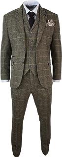 Cavani Herrenanzug 3 Teilig Braun Klassisch Tweed Fischgräte Kariert Eng Tailliert Vintage
