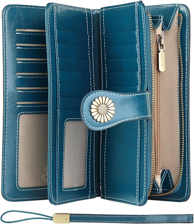 KELEEL Women Wholesale Inexpensive Wallets Large Capacity Genuin Blocking Trifold RFID