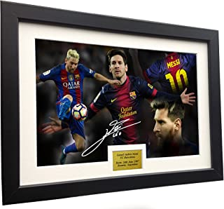 Lionel Messi 12x8 A4 Signed CELEBRATION - Barcelona - Autographed Photo Photograph Picture Frame Soccer Gift
