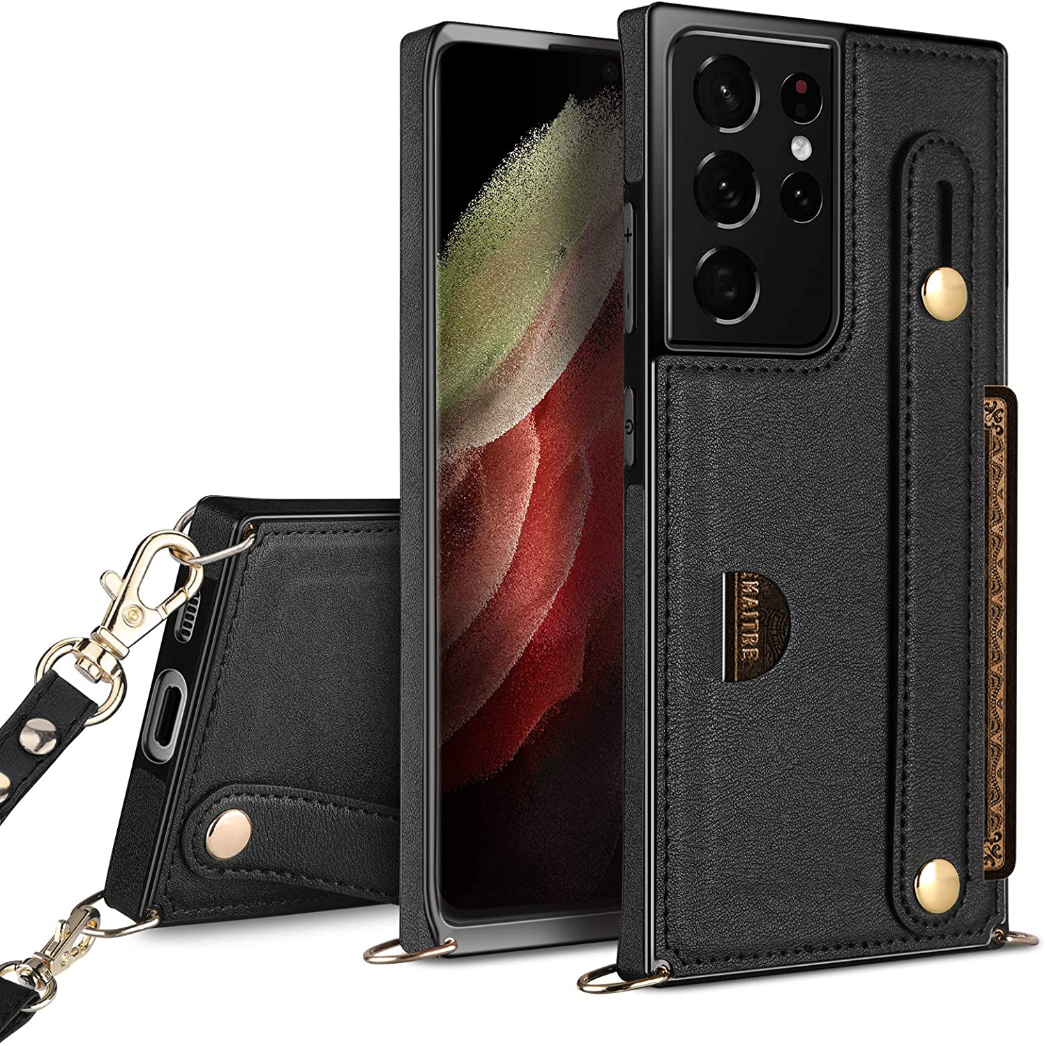 HianDier Compatible with Samsung Galaxy S21 Ultra Wallet Case 5G 6.8 Inches Slim Protective Case with Hand Strap Holder Kickstand Lanyard Credit Card Slot Soft PU Leather Square Cover, Black