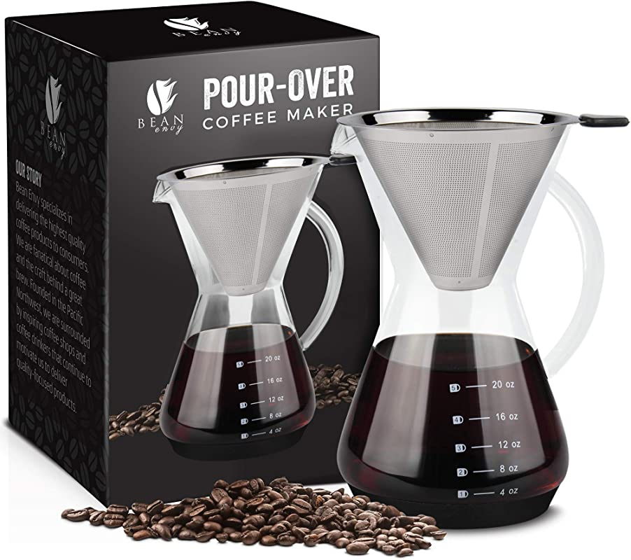 Bean Envy Pour Over Coffee Maker 20 Oz Borosilicate Glass Carafe Rust Resistant Stainless Steel Paperless Filter Dripper Includes Patent Pending Silicone Sleeve