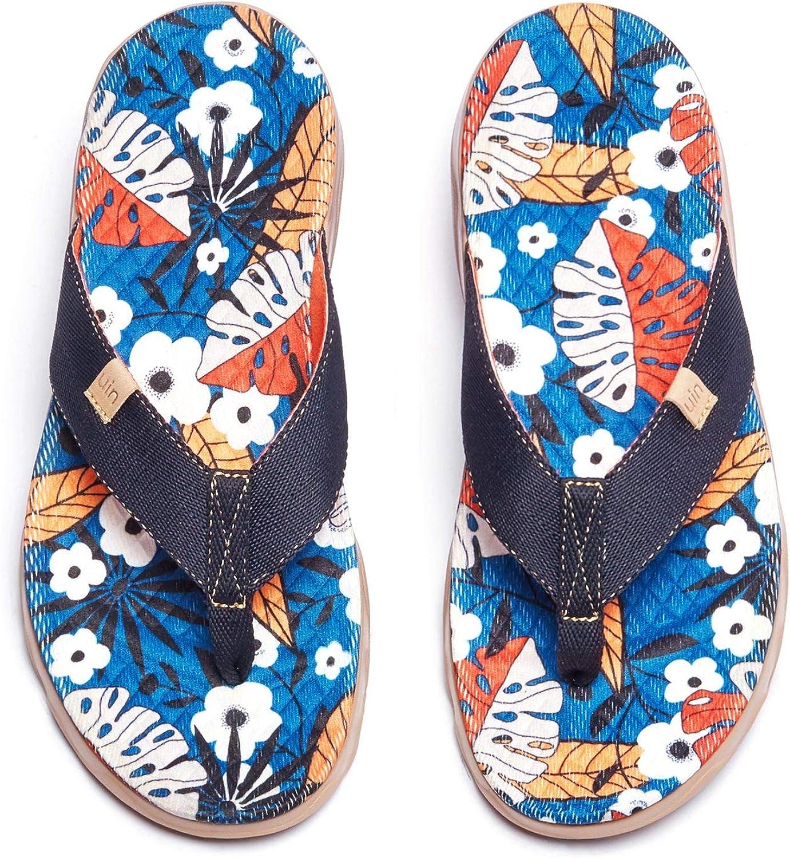 UIN Women's Flip Flops Thong Sandals Beach Summer Casual Art Pai