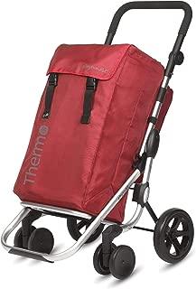 Playmarket GO Plus Large Capacity Folding Shopping Cart with Swivel Wheels, Burdeos