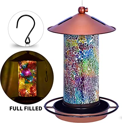 Solar Bird Feeder for Outside - Mosaic Copper Outdoor Hanging Lantern, Solar Powered Hanging Birdfeeder with Hook for Wild Birds, Unique Bird-Gifts for Mom