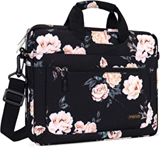 MOSISO Laptop Shoulder Bag with Adjustable Depth at Bottom Polyester Messenger Briefcase Carrying Handbag Sleeve Case Cover Multicoloured Black Peony 13-13.3 Inch