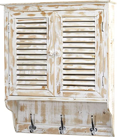 Amazon Com Nearly Natural 32 In White Washed Hooks Wall Cabinet Home Kitchen