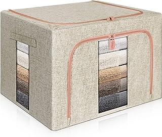 Mijiao 収納ボックス 50x40x33cm 収納ケース 衣類収納 ダブルドア 600Dオックス 洋服収納 麻生地 ワイヤー入りで積み重ねにも便利 透明窓付き 大容量 衣装ケース(ライトグレー)