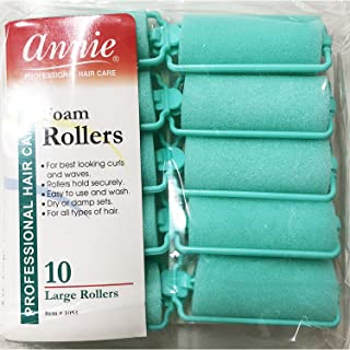 Annie Classic Foam Cushion Rollers #1053, 10 Count Green Large 1 Inch (2 Pack)
