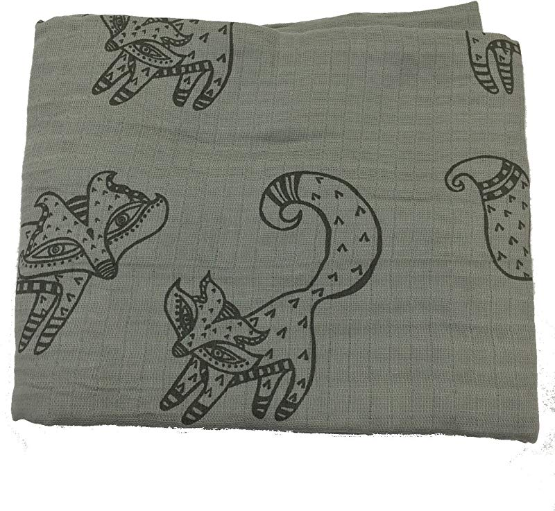 Bambino Land Muslin Swaddle Blanket Solid Printed Gray Fox