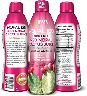 Maxx Herb Nopal 100 Organic Red Nopal Cactus Juice (32 oz), for Healthy Digestion, Blood Sugar Balance, Supports Normal Ch...