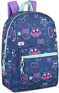 Trailmaker Girls' All Over Printed Backpack 17 Inch With Padded Straps (Owl)