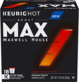 MAX by Maxwell House Boost Keurig K Cup Coffee Pods 1.75x Caffeine (18 Count)