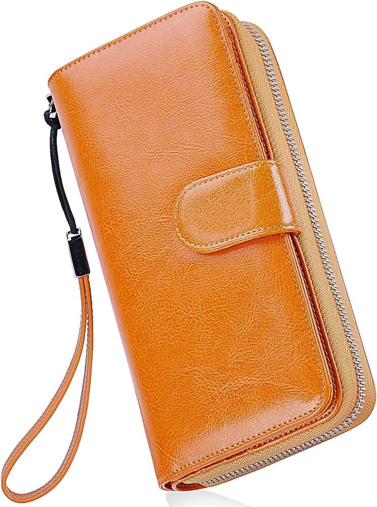 Newhey, portafoglio da donna, porta carte di credito, porta cellulare , in pelle cerata GIALLINO11