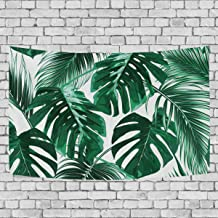 Tropical Green Palm Leaves Pattern Tapestry, Customized 3D Home Decorative Wide Wall Hanging Carpet Blanket for Bedroom Li...