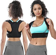 Posture Corrector Clavicle Support Brace with for Upper Back Pain Relief Therapy Adjustable Shoulder Strap Improve Scoliosis, Thoracic Posture (Black, L)
