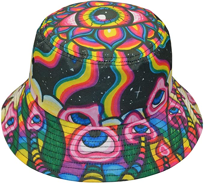 Hippie Hats,  70s Hats Psychedelic Mushroom Trippy Hippie Alien Bucket Hat Fisherman Hats Summer Outdoor Packable Cap Travel Beach Sun Hat  AT vintagedancer.com