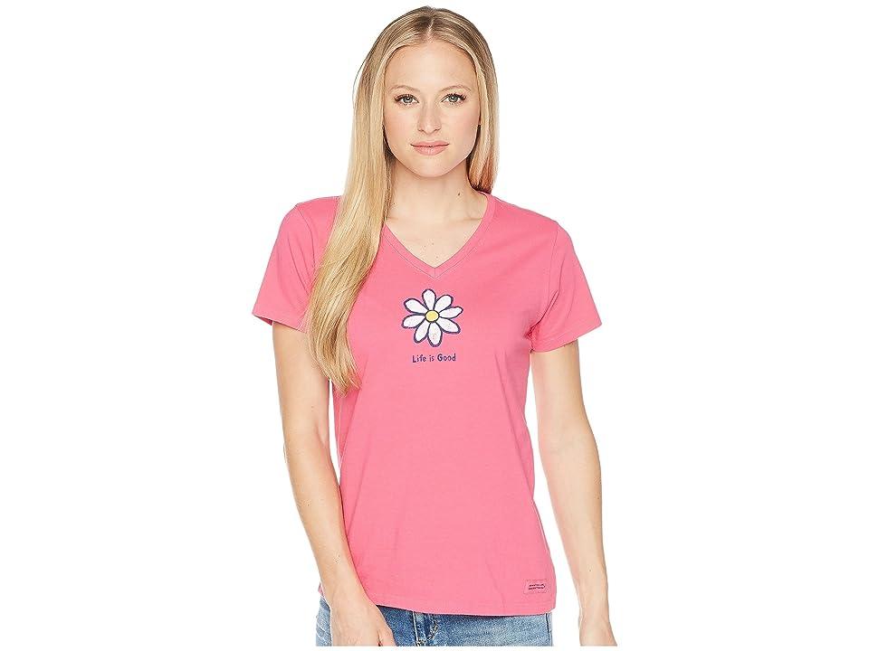 063e01307 Life is Good Classic Daisy Crusher Vee Tee (Fiesta Pink) Women