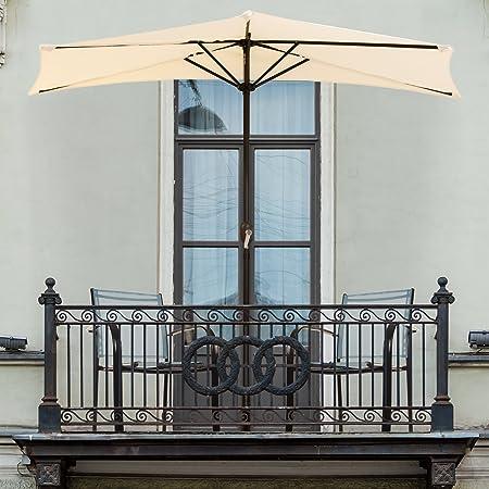 Pure Garden 50-145-T 9' Half Round Patio Umbrella, Tan