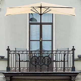 Pure Garden 9' Half Round Patio Umbrella, Tan