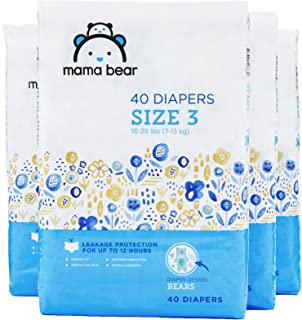 Amazon Brand - Mama Bear Diapers Size 3, 160 Count, Bears Print (4 packs of 40) [Packaging May Vary]