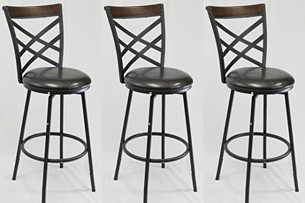 EHemco 24 29 Swivel Metal Barstool With Double X Back Faux Leather Seat In Espresso Set Of 3