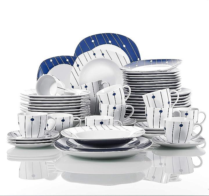 Servizio in porcellana stoviglie set 60 pezzi veweet dot DOT001*2-UK