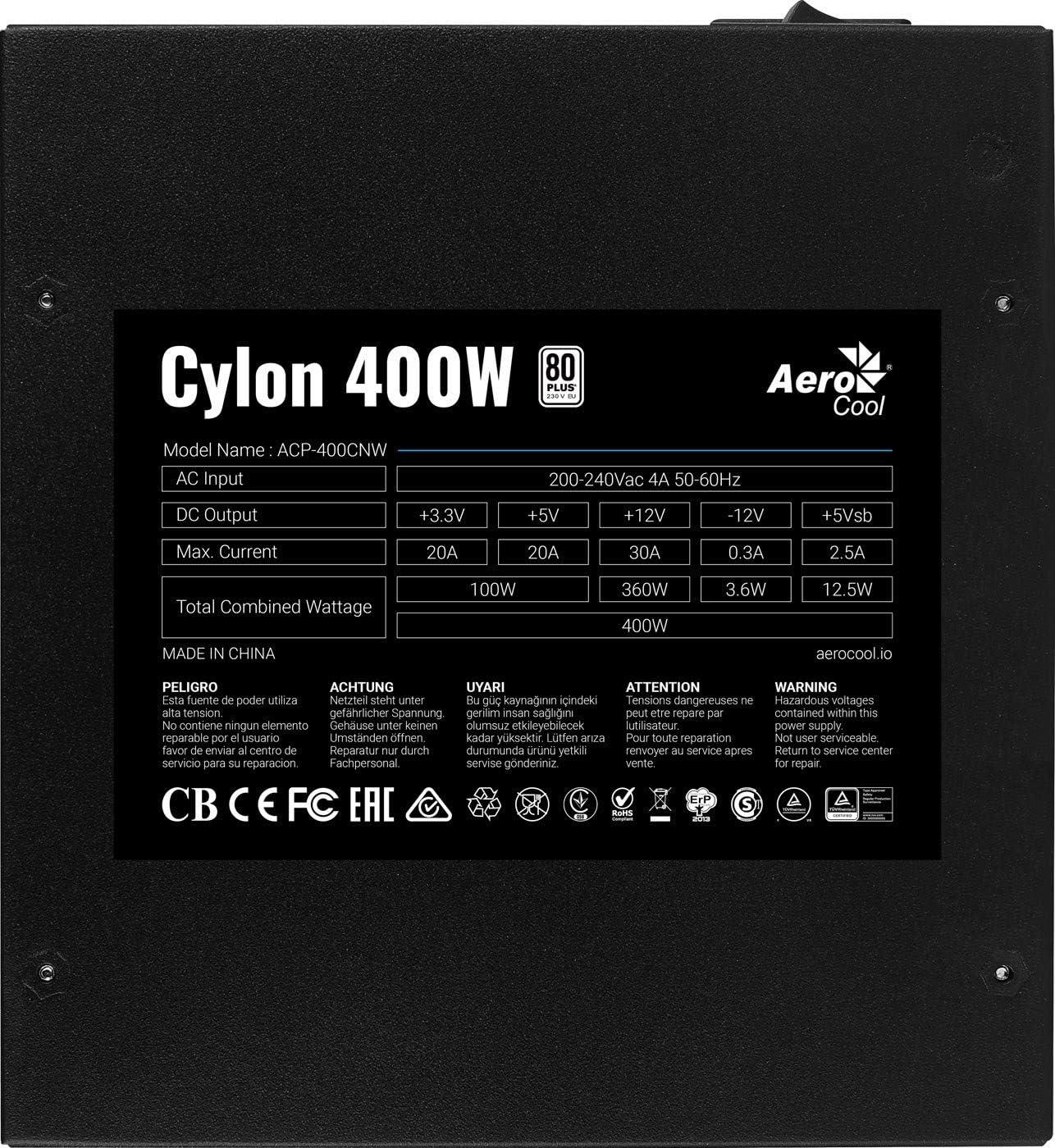 Aerocool Cylon 600W 80 Plus Certified Power Supply Unit