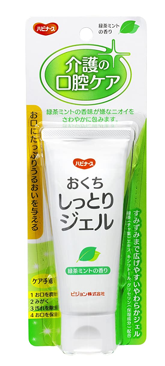 フロントパッケージ欺くハビナース おくちしっとりジェル 緑茶ミントの香り 60g