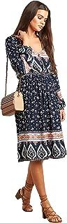 Paisley Printed Boho Midi Women's Dress with V Neck