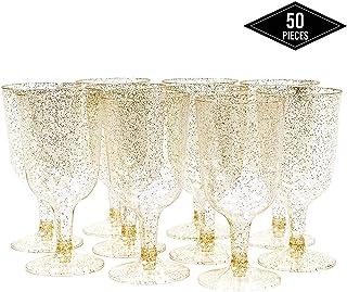 50 Piezas Copas de Vino de Plástico Desechables, Brillo Dorado 170ml - Elegante, Resistente y Reutilizable Catering Fiestas Cumpleaños Bodas Navidad Año Nuevo.