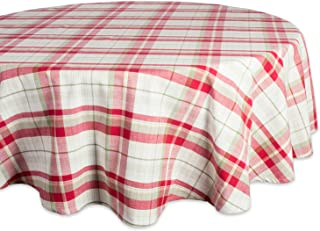 DII Orchard Plaid Round Tablecloth, 100% Cotton with 1/2