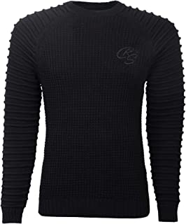 Crosshatch Mens Chunky Jumper Crew Neck Cable Knit Ribbed Sweater Fashion Top