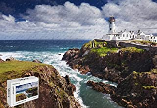 1500 Piece Jigsaw Puzzle - Fanad Head Lighthouse Portsalon Ireland Wood-Material Large Size,34.2 X 22.4 Inch Stained Art Literate