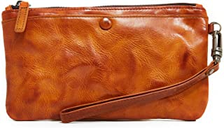 Ancicraft Wallets For Women Men Leather Purse Clutch Bag Phone Pouch Leather with Wristlet Brown Black Zippered Gift