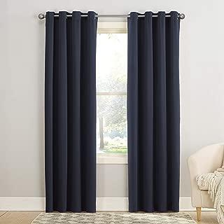 (navy, 54x108) - Sun Zero Groton Thermal Semi-opaque Grommet Single Curtain Panel