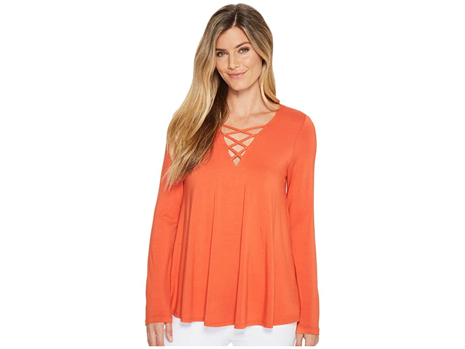 Karen Kane Crisscross Swing Top (Orange) Women