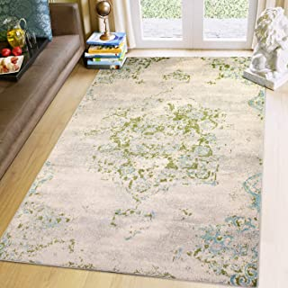 Super Area Rugs 3x5 Ivory, Blue & Green Oriental Vintage Area Rug 3' 3'' X 5' Carpet Neutral Entryway