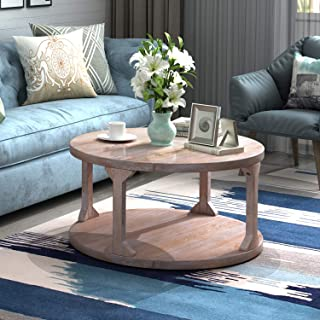 P PURLOVE Round Rustic Coffee Table, Solid Wood Storage Shelf for Living Room with Dusty Wax Coating 36 inch