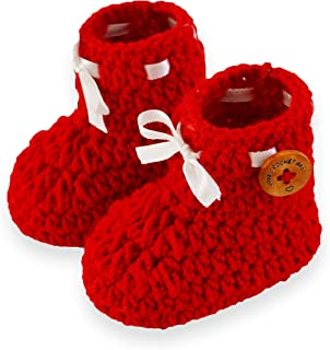 Love Crochet Art Handmade Crochet Baby Shoes Baby Booties Knitted Booties (Red, 6-12 Month)