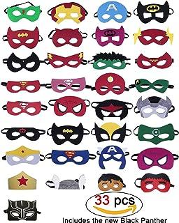 33 Piezas Máscaras de superhéroes, Suministros de fiesta de superhéroes, Máscaras de superhéroes de cosplay, Máscaras de media fiesta para niños o Niños y niñas mayores de 3 años (33 piezas)