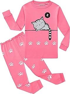 Family Feeling Kids & Toddler Girls Pajamas 2 Piece Pjs Set 100% Cotton Sleepwear