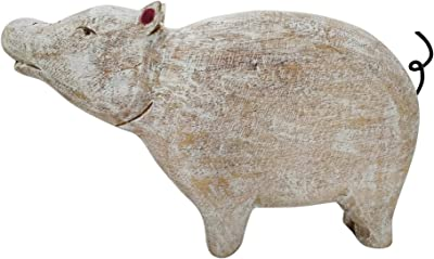 Sagebrook Home 14578-01 Mango Wood Standing Pig, Whitewash, White